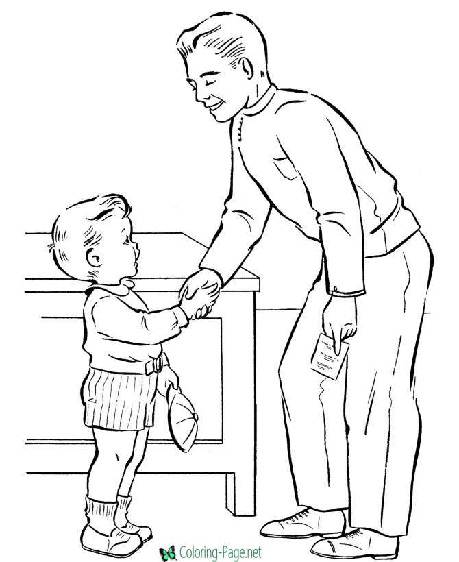 Father´s Day Coloring Page Handshake for Dad