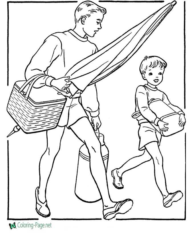 Father´s Day Coloring Page Beach Day