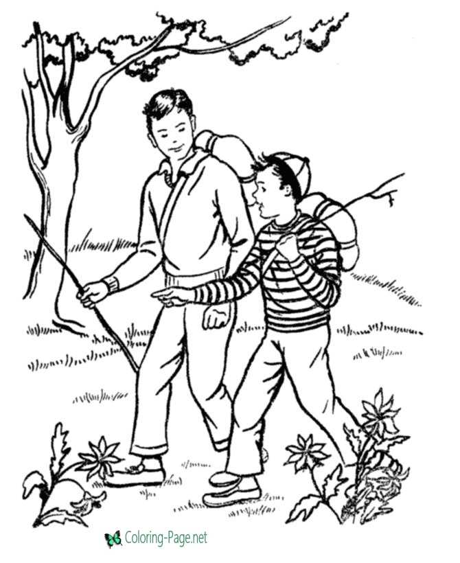 Free Father´s Day Coloring Pages Camping Dad