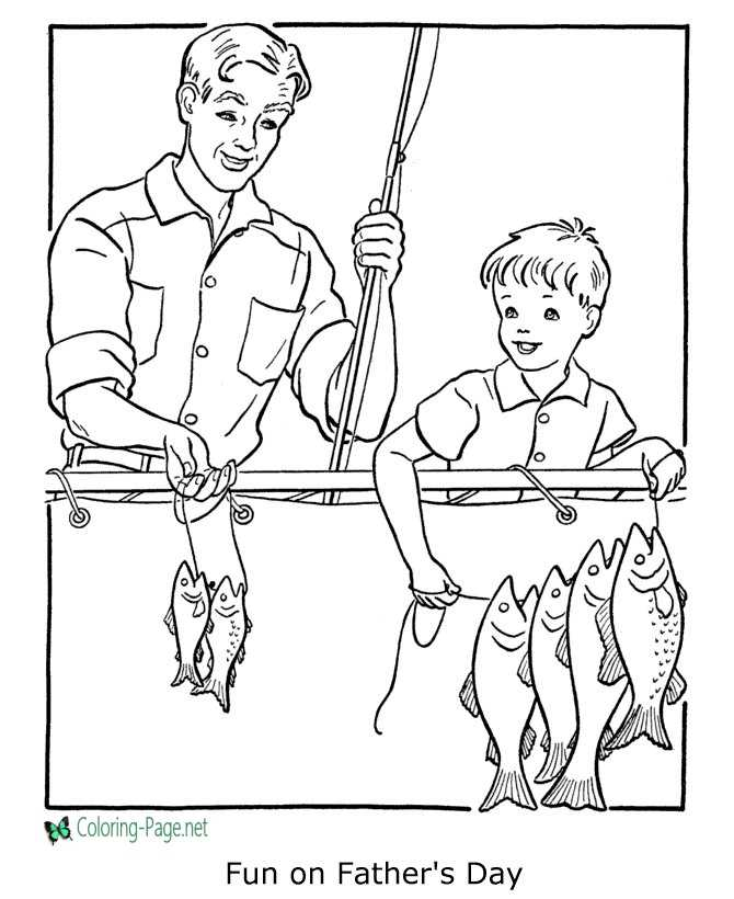 Father´s Day Free Coloring Page Fishing Fun
