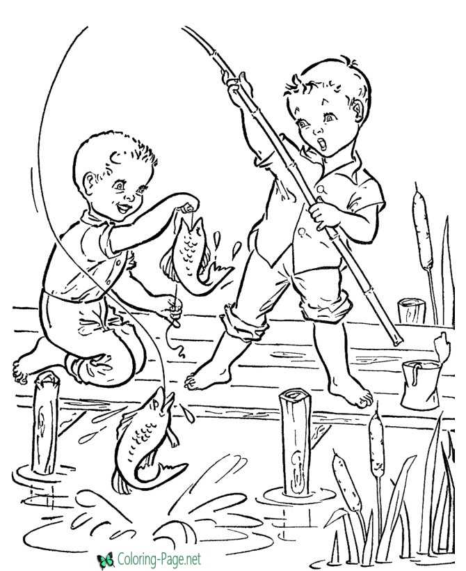 children fish coloring page