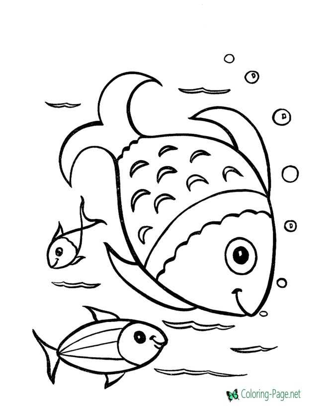 Underwater Fishing Fish Coloring Pages