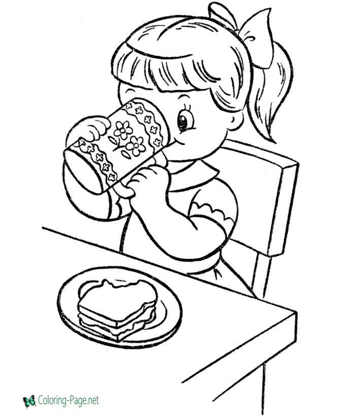 food pages coloring for kids | Food Coloring Pages