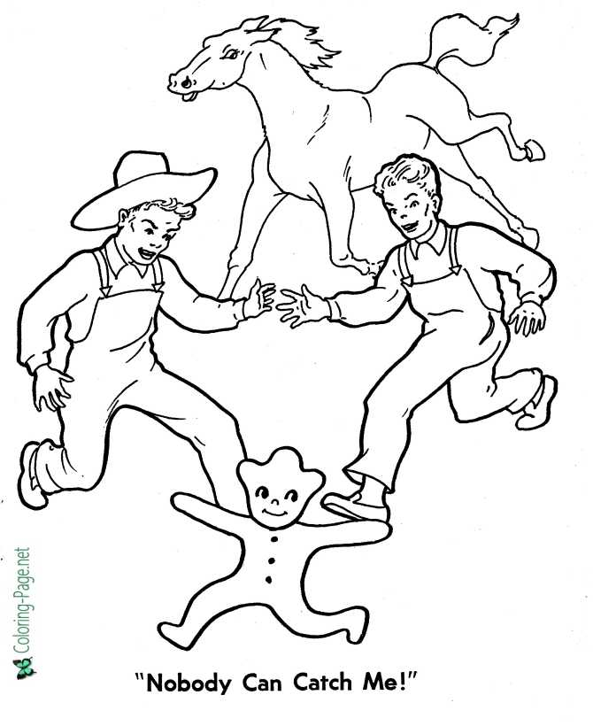 print Gingerbread Man coloring page