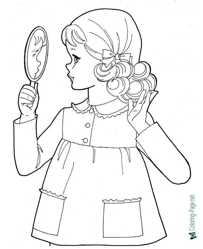 print school coloring page for girls