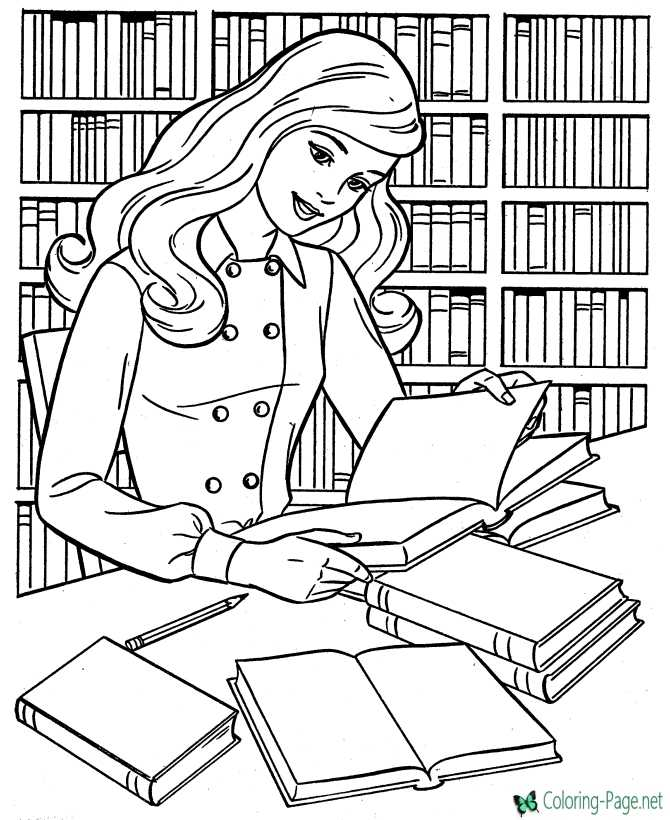coloring page for girls of school