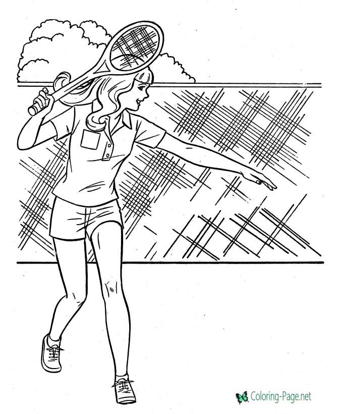tennis coloring page for girls