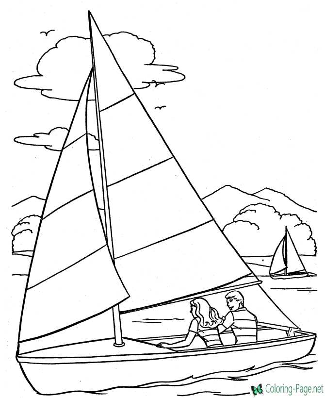 Girls sailing pictures to color