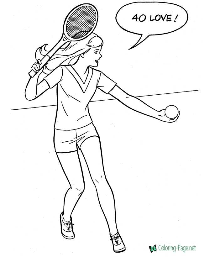 Girls tennis coloring page of sports