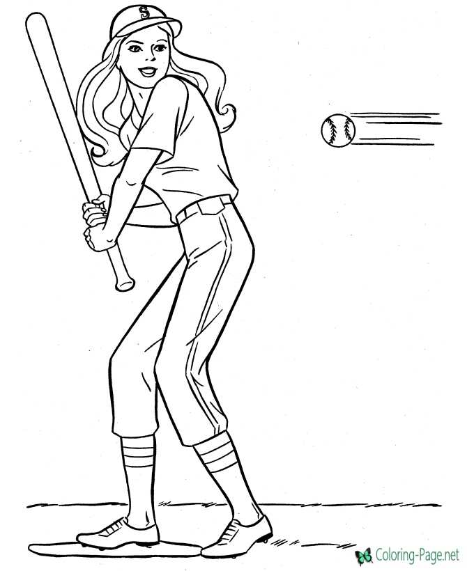 print girls baseball coloring page