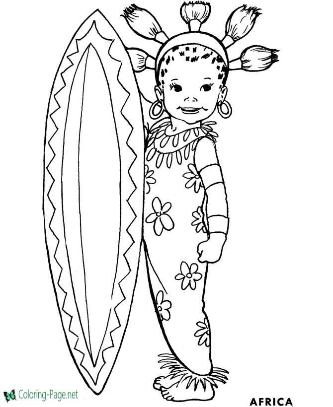 Africa Coloring Pages For Girls