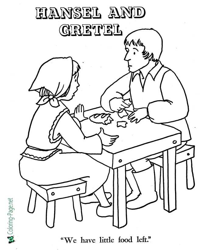 print Hansel and Gretel coloring page