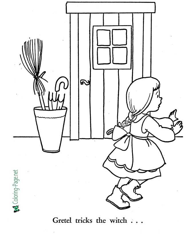printable coloring page for Hansel and Gretel