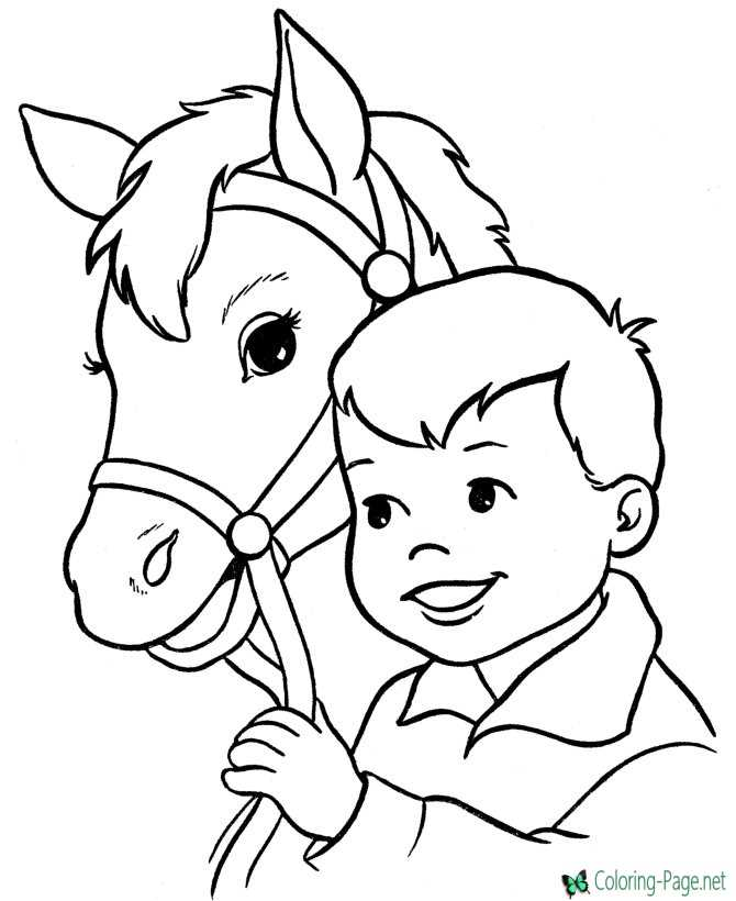 Boy and Horse Coloring Pages