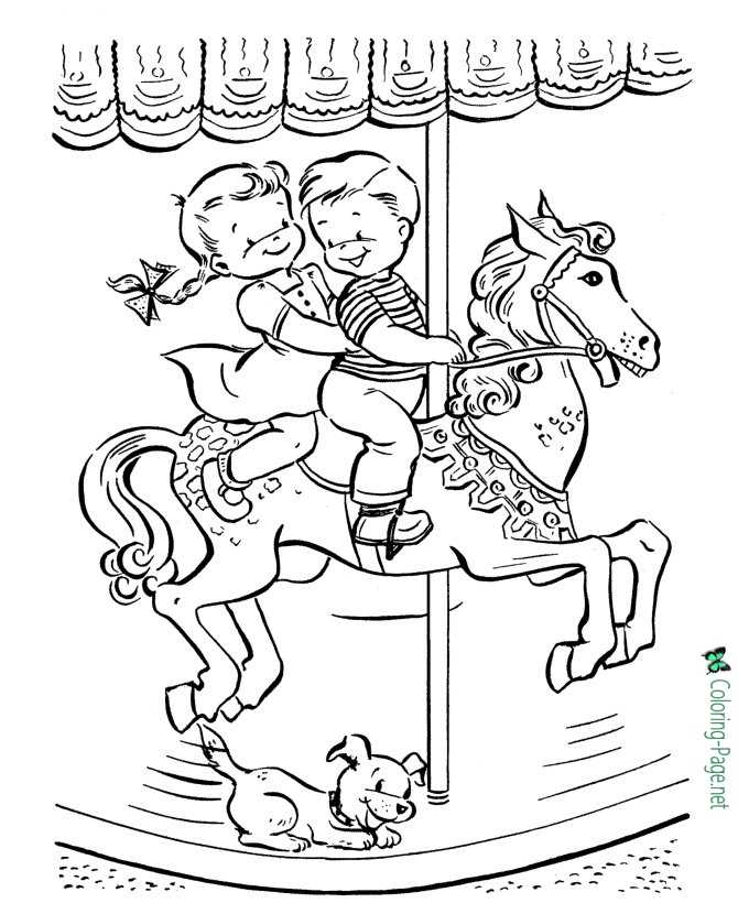 merry go round horse to color
