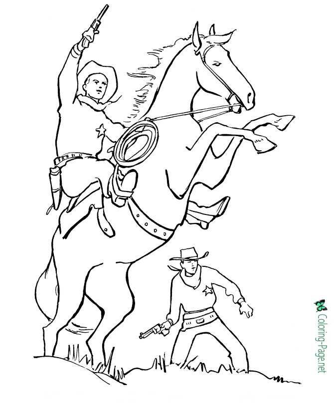 Cowboy Western Horse Coloring Pages