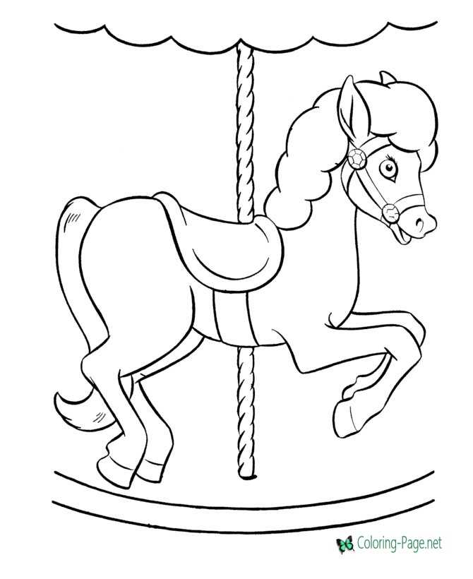 merry go round coloring page