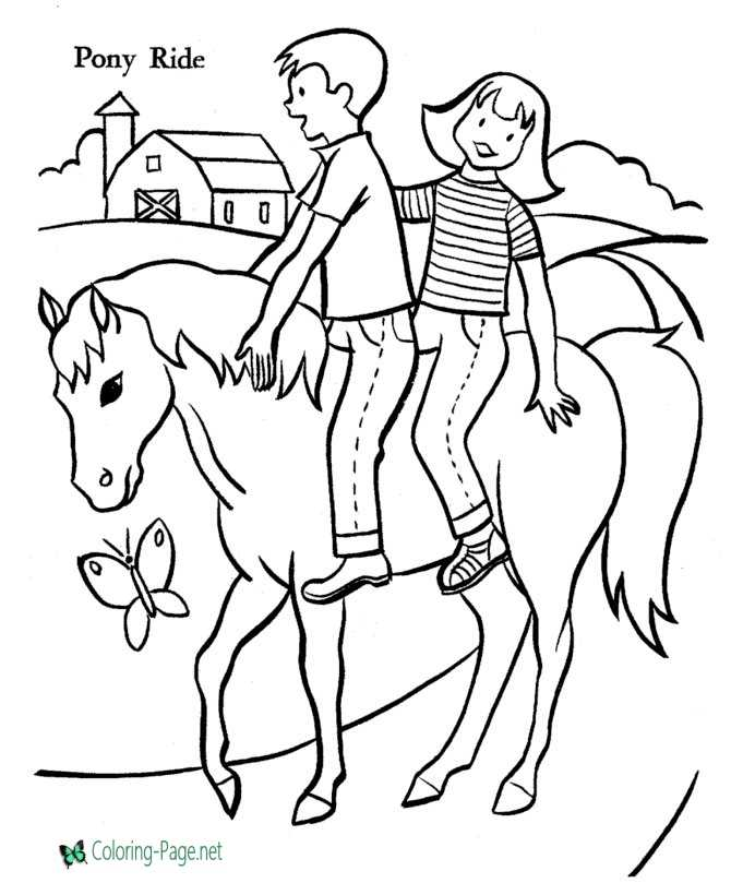 horse coloring pages girl boy riders