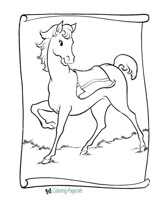 Horse Coloring Pages Saddle Pony