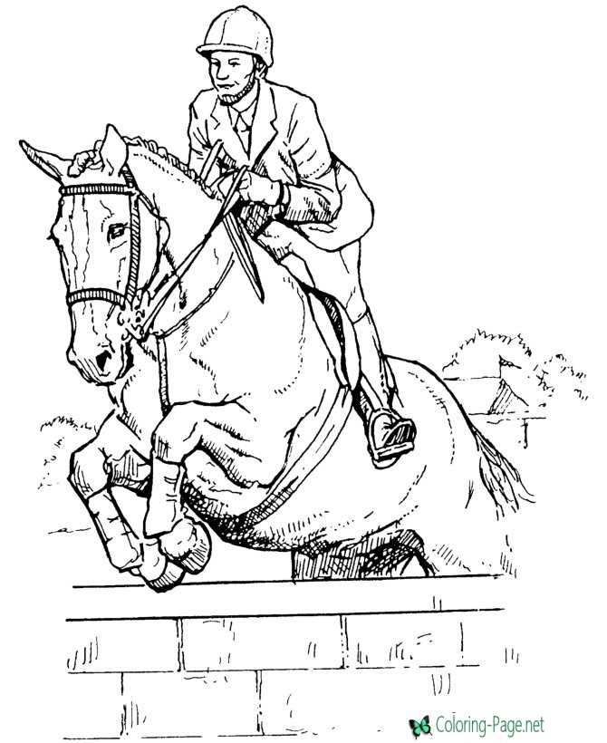 Horse Coloring Pages Jumping Horses