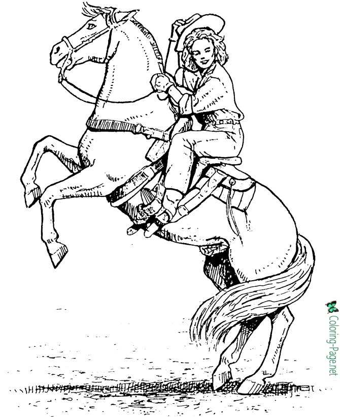 cowgirls horses to color