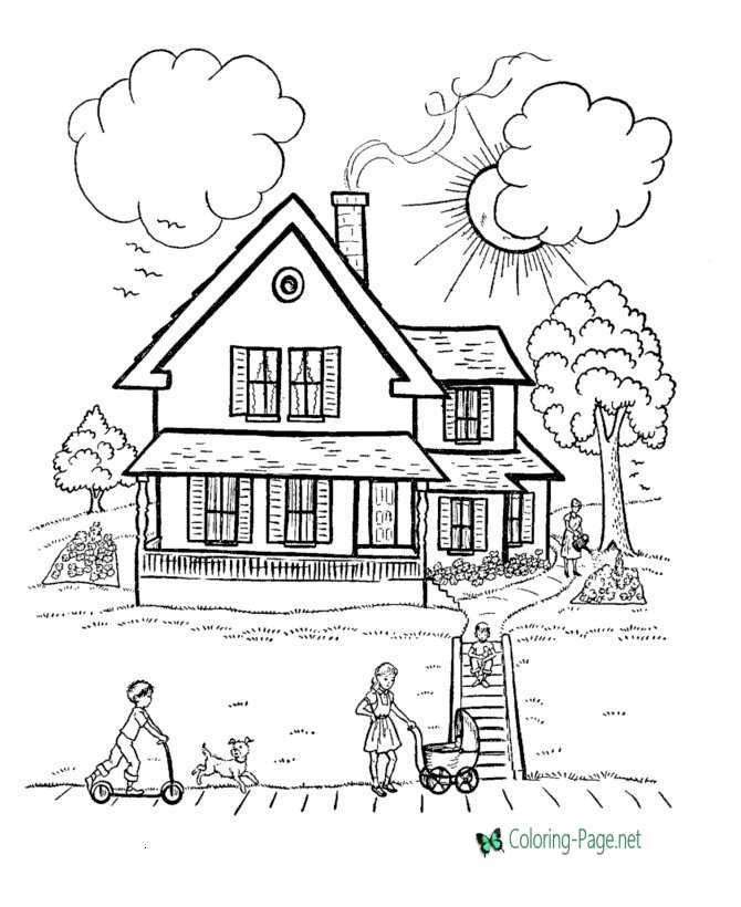 House Coloring Pages Country Houses