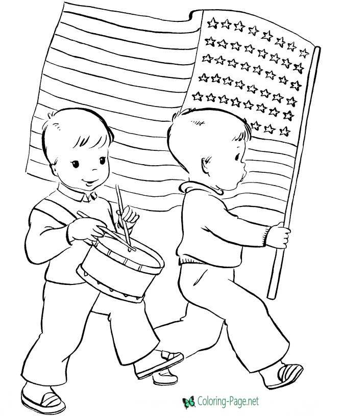 Marching Independence Day Coloring Pages