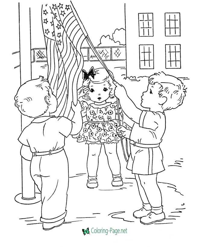Raising the Flag Independence Day Coloring Pages