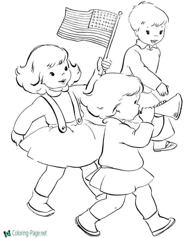 Parade Independence Day Coloring Pages