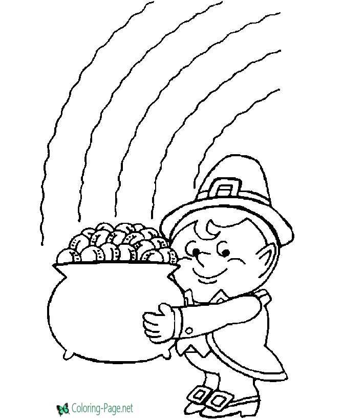 Leprechaun Coloring Pages Pot of Gold