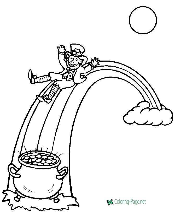 Leprechaun Coloring Pages Rainbow Gold