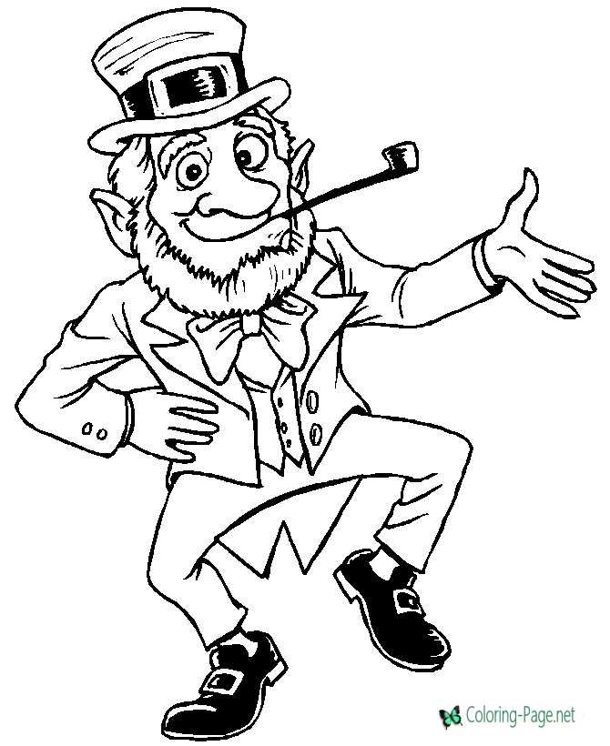 color leprechaun coloring page