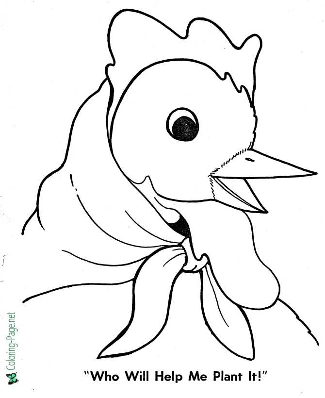 Fairy Tales - Little Red Hen Coloring Pages | 820x670
