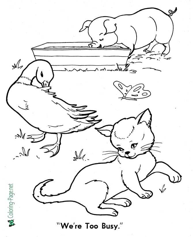 The Three Little Red Hen Page Coloring Pages