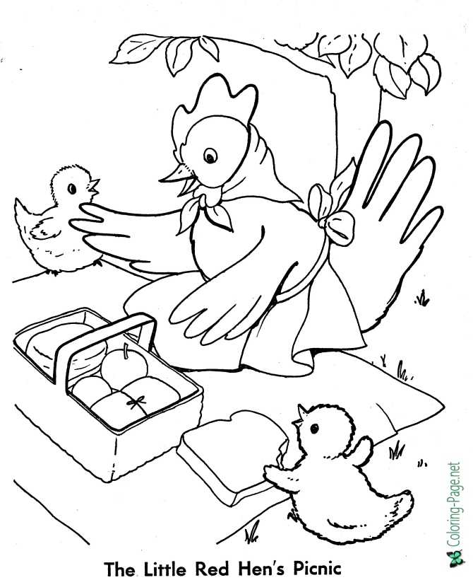 Fairy Tales Little Red Hen Coloring Pages