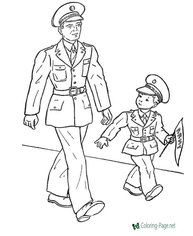 Printable Memorial Day Coloring Pages Walk with Father