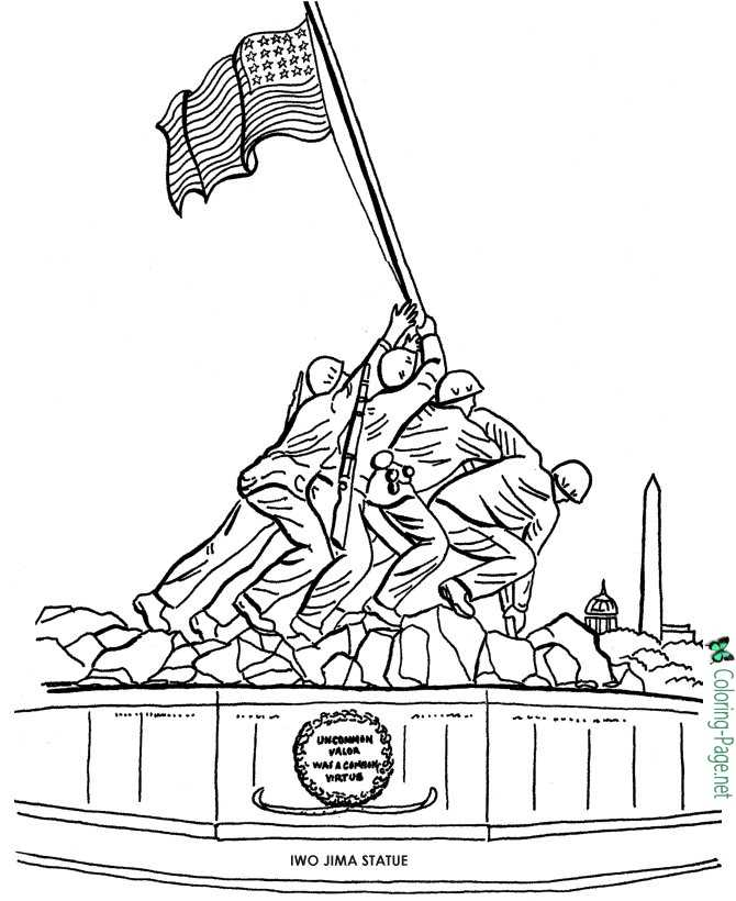 Memorial Day Coloring Pages Iwo Jima