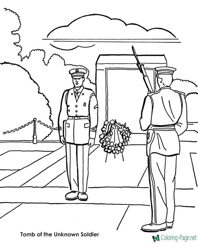Memorial Day Coloring Pages Tomb Unknown Soldier