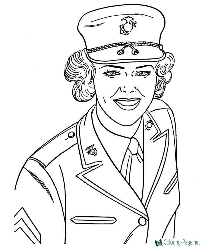 Girls Military Coloring Pages