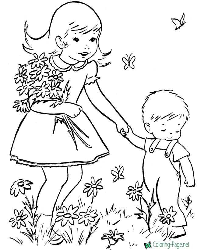 Mother´s Day Coloring Pages Girls Gift