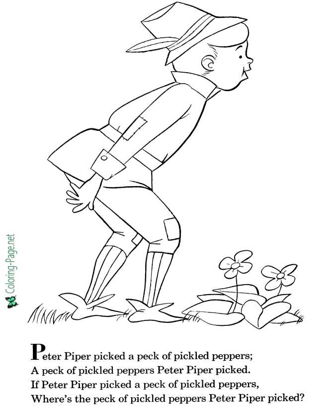 Peter Piper nursery rhyme coloring page