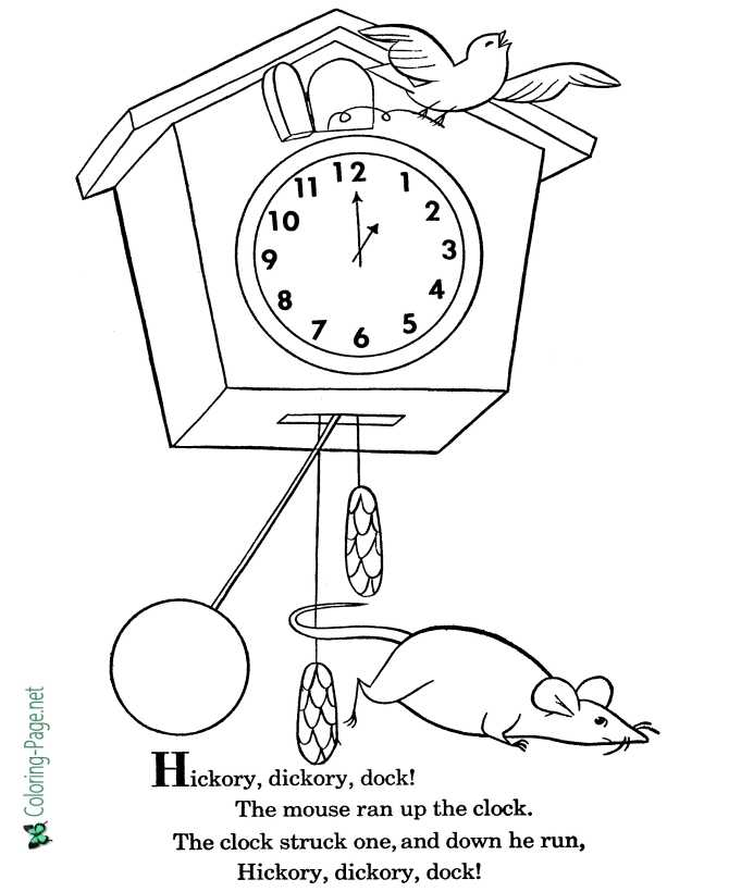 Hickory Dickory Dock nursery rhyme coloring page