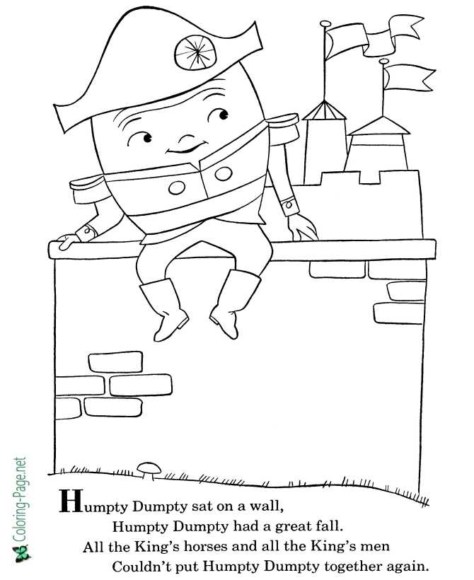 printable Humpty Dumpty nursery rhyme coloring page