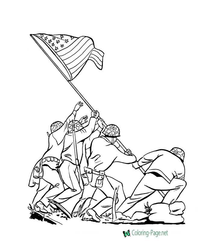 Patriotic Coloring Pages Flag at Iwo Jima
