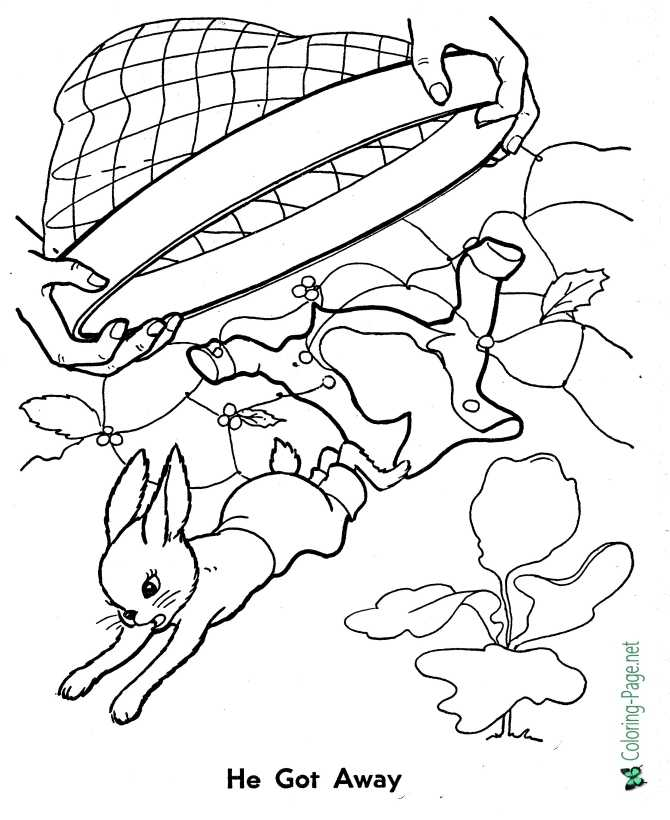 printable Peter Rabbit coloring page - He gets away!