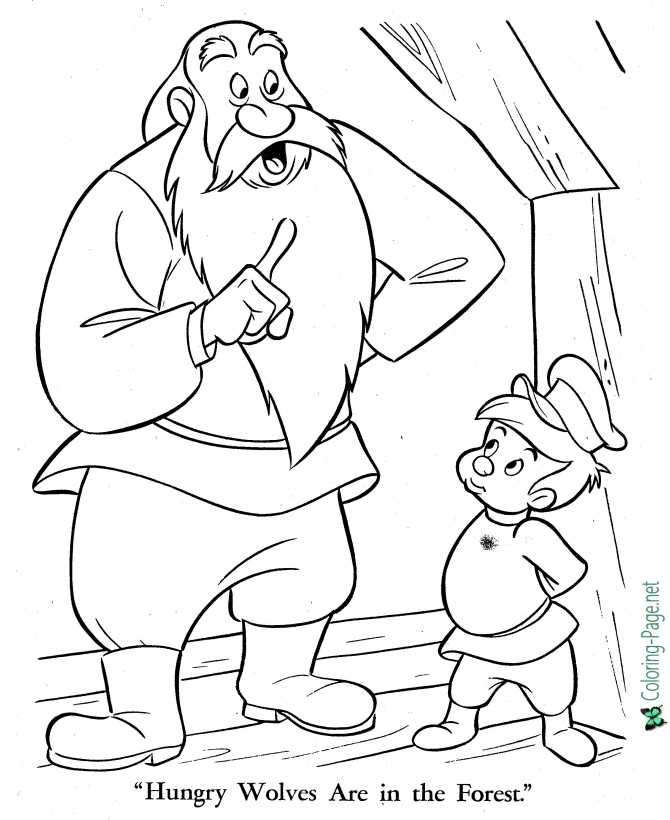print Peter and the Wolf coloring page