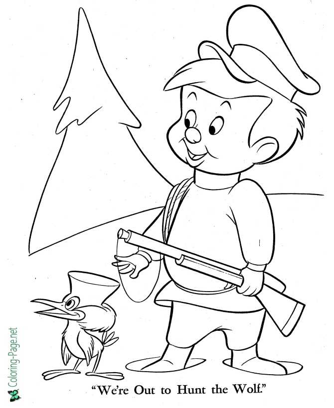 printable Peter and the Wolf coloring page