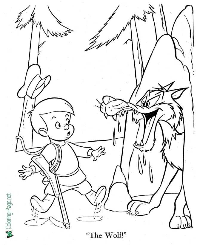 printable Peter and the Wolf coloring pages