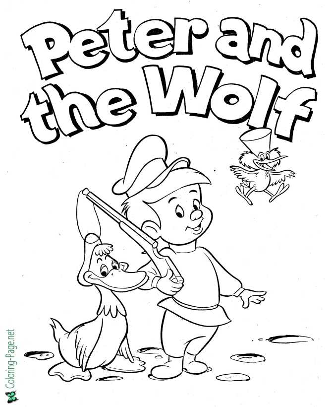 Peter And The Wolf Coloring Pages Fairy Tale