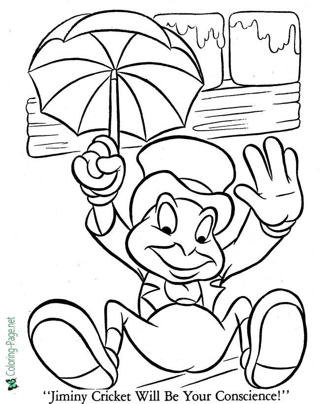 color Pinocchio picture sheet